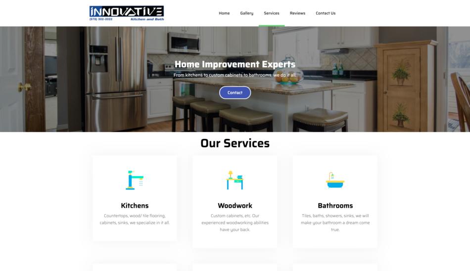 Innovative Kitchen & Bath website homepage screenshot, designed by Zoka Design